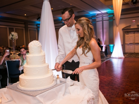 Ballroom Wedding Bride Groom Cutting Cake