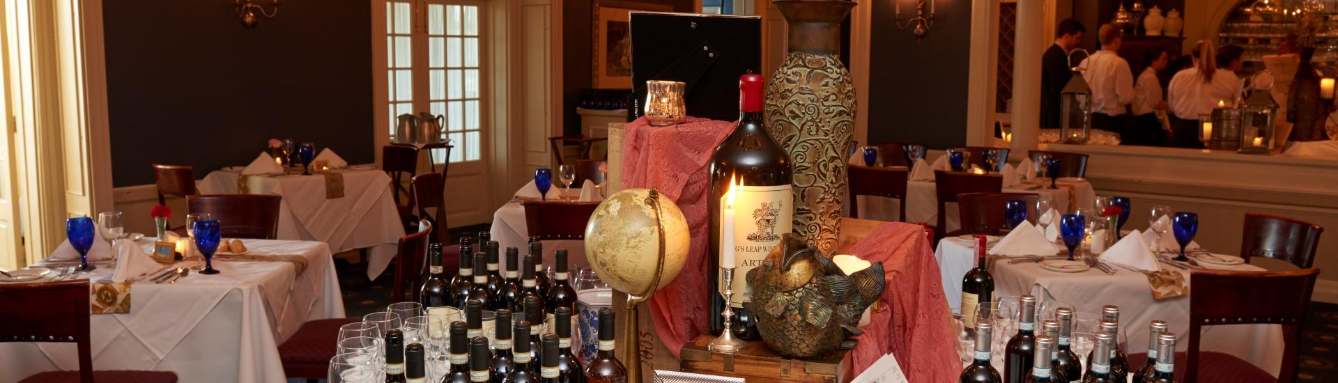 Table set ups for Wine Dinner